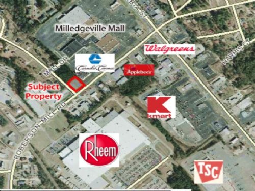 Corner Commercial Lot : Milledgeville : Baldwin County : Georgia