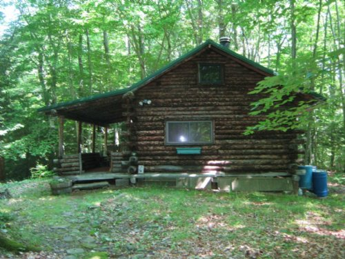Log Cabin Borders Cornell Univ Land : Dryden : Tompkins County : New York