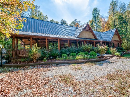 Custom Log Home On 34 Wooded Acres : Duck River : Hickman County : Tennessee