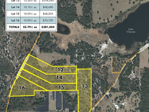 Winona Ranch Lots - 10 To 15 Acres : De Leon Springs : Volusia County : Florida