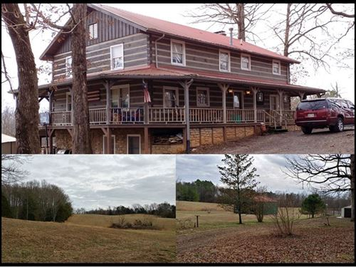 27.68 & Log Home In Clay Co. : Red Boiling Springs : Clay County : Tennessee