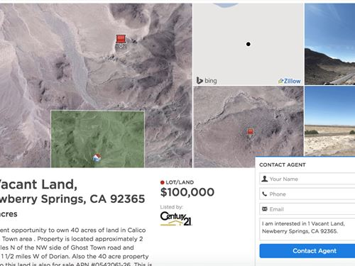 80 Acres In Newberry Springs, CA : Newberry Springs : San Bernardino County : California