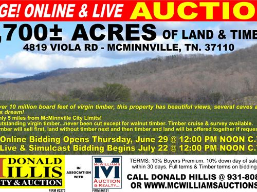 1,700 Acres - Timber & Land : McMinnville : Warren County : Tennessee