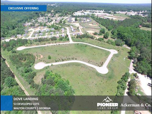 53 Developed Lots, Dove Landing : Social Circle : Walton County : Georgia