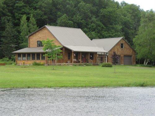 15 Acres Log Home Near Syracuse Ny : Amboy : Oswego County : New York