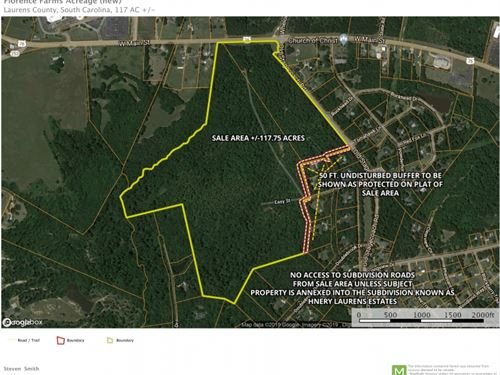 117.75 Acres 2.3 Miles From Do : Laurens : South Carolina