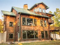 Large Log Home on 158 Acres For : Doniphan : Ripley County : Missouri