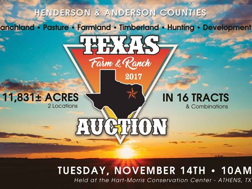 Texas Farm And Ranch Auction : Malakoff : Henderson County : Texas
