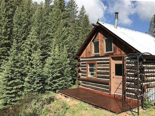 Trout Stream With Log Bunkhouse : Cripple Creek : Teller County : Colorado