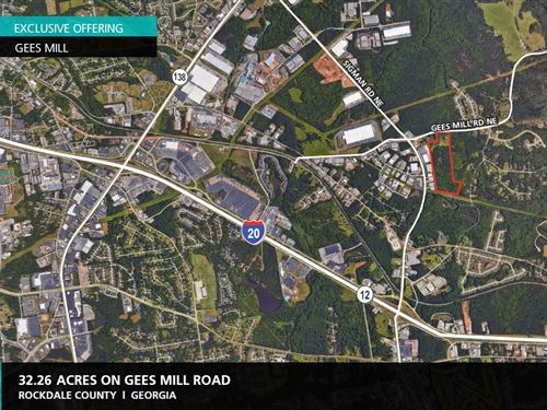 32.26 Acres On Gees Mill Road : Conyers : Rockdale County : Georgia