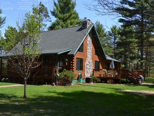Log Home On Hunting Land : Black River Falls : Jackson County : Wisconsin