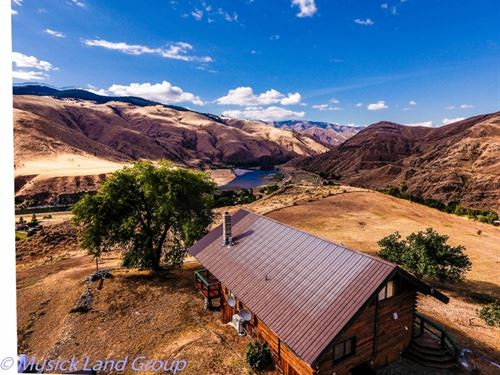 Id Log Home With Land For Sale, Whi : White Bird : Idaho County : Idaho