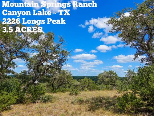 3.5 Acres In Comal County : Canyon Lake : Comal County : Texas