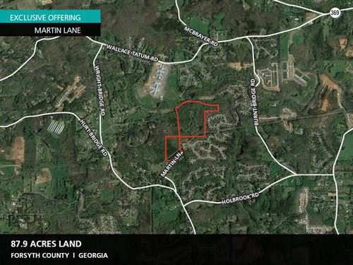 87.9 Acres Martin Lane : Cumming : Forsyth County : Georgia