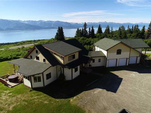 Stunning Post And Beam Waterfront : Homer : Kenai Peninsula Borough : Alaska