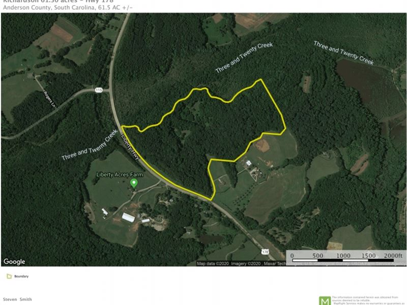 61.50 Acres Centrally Located Betw : Pendleton : Anderson County : South Carolina