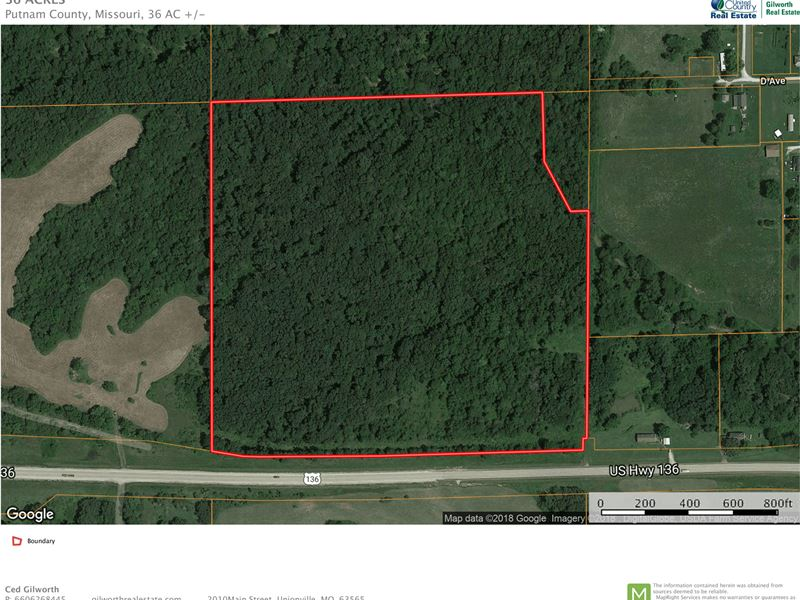 Hunting Building Acreage US Highway : Livonia : Putnam County : Missouri