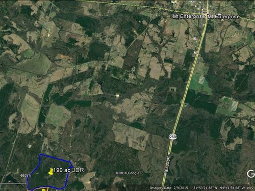190 Acres Timber Hunting Recreation : Mount Enterprise : Rusk County : Texas