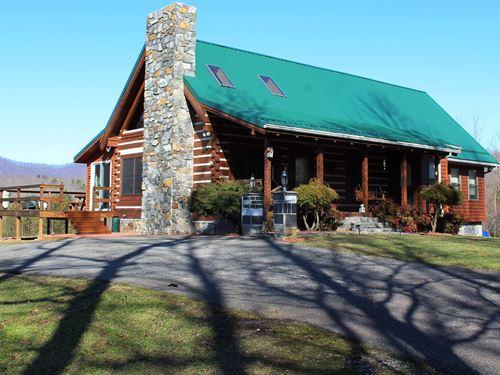 Log Home, 51.5 Acres, Private : Stuart : Patrick County : Virginia