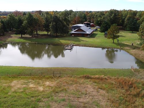 41.55 Acre Log Home : Blossom : Lamar County : Texas
