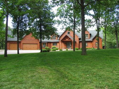 Beautiful Hybrid Log Home : Warsaw : Benton County : Missouri