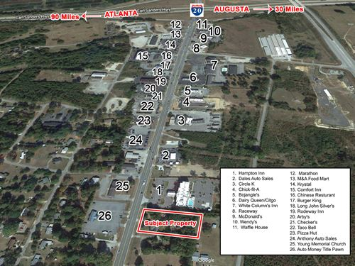 Reduced 1.21 Commercial Acres : Thomson : McDuffie County : Georgia