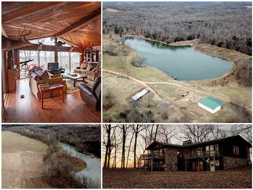 Lodge on 587 Acres on Eleven Point : Gatewood : Oregon County : Missouri