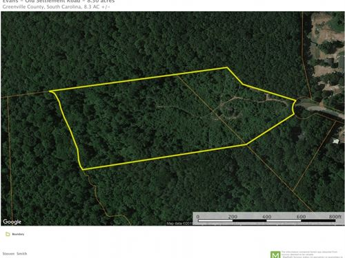 8.30 Acres, Nice Views Of : Travelers Rest : Greenville County : South Carolina