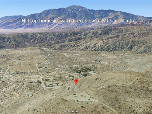 Beautiful Calif Hill Top Homesite : Morongo Valley : San Bernardino County : California