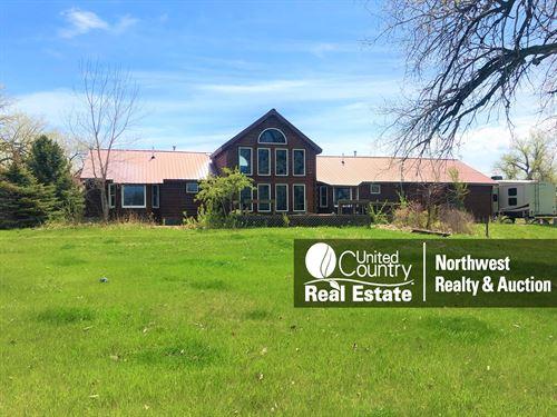 MT Log Home, Irrigated Farm Land : Malta : Phillips County : Montana