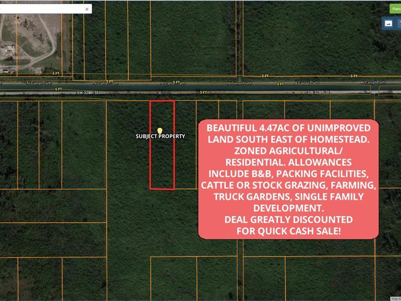Agricultural Land Homestead Fl : Homestead : Miami-Dade County : Florida