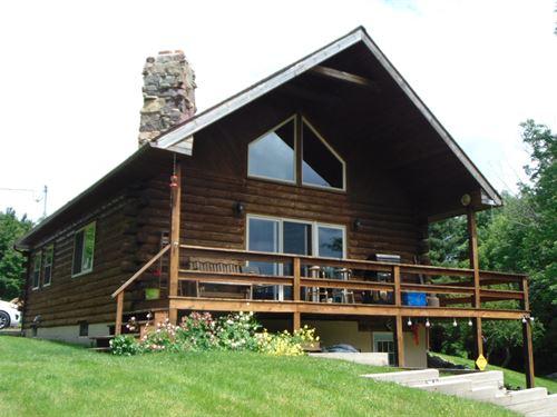 Custom Log Home With 1 Acre Pond : Windsor : Broome County : New York