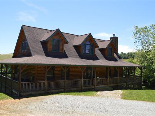 Nice Log Sided Home Gated Community : Sparta : Alleghany County : North Carolina
