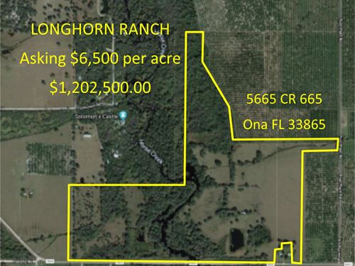 185 Acre Florida Hunting Cattle : Ona : Hardee County : Florida