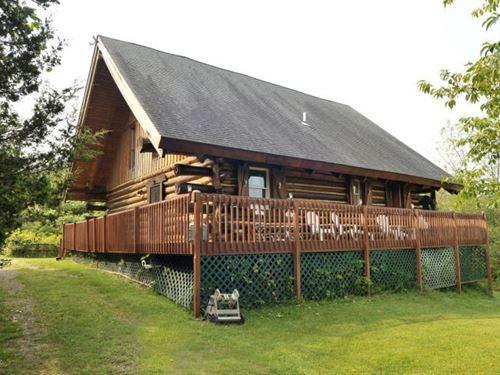 Custom Built Log Home Sits High : Coloma : Berrien County : Michigan
