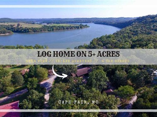 Log Home With Year Around Lake Vie : Cape Fair : Stone County : Missouri