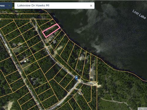 Log Home on Lost Lake Presque Isle : Hawks : Presque Isle County : Michigan