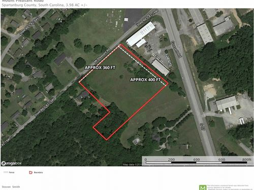 3.98 Acres Located Less Than 1 Mile : Spartanburg : South Carolina