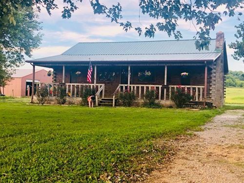 Log Home on 19+ Acres : Beechgrove : Coffee County : Tennessee