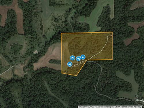 40 Secluded Acres With Home & Shed : Hardin : Calhoun County : Illinois