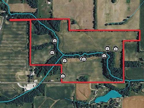74 Acres, Tillable, Woods, Creeks : Lynn : Randolph County : Indiana