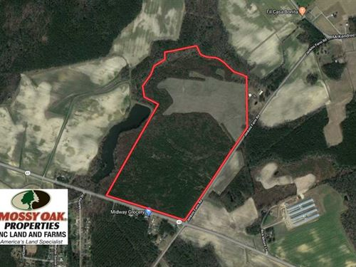 121.43 Acres of Farm And Timber LA : Pinetops : Edgecombe County : North Carolina
