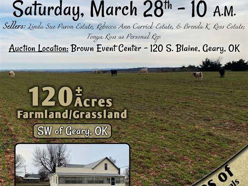 Land, Home, Auction : Geary : Blaine County : Oklahoma