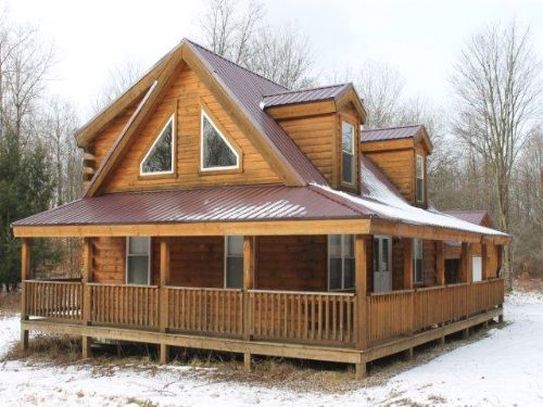 Custom Log Home In Wooded Setting : Camden : Oneida County : New York