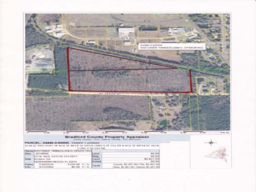 40 Acres Zoned Industrial : Starke : Bradford County : Florida