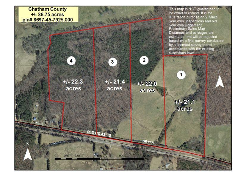86.75+/- Acres Timber & Pasture : Goldston : Chatham County : North Carolina