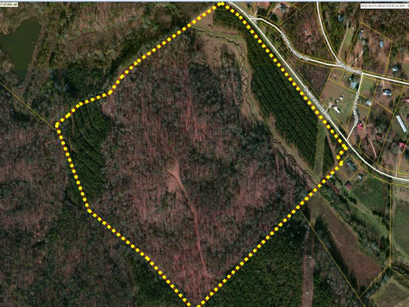 +/- 76 Wooded Acres Bordering The N : Toccoa : Stephens County : Georgia