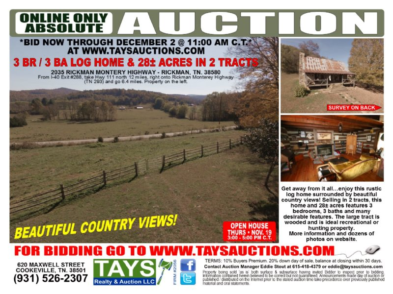 3br Log Home On 28± Ac In 2 Tracts : Rickman : Overton County : Tennessee